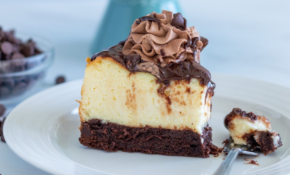 brownie bottom cheesecake on plate