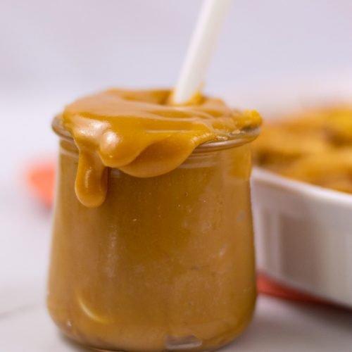 homemade caramel sauce in a jar