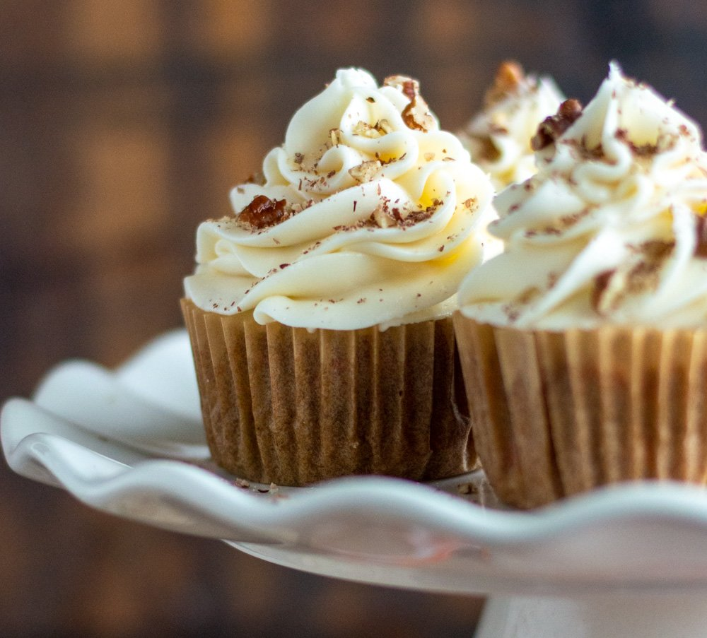 carrot cake cupcakes on plate