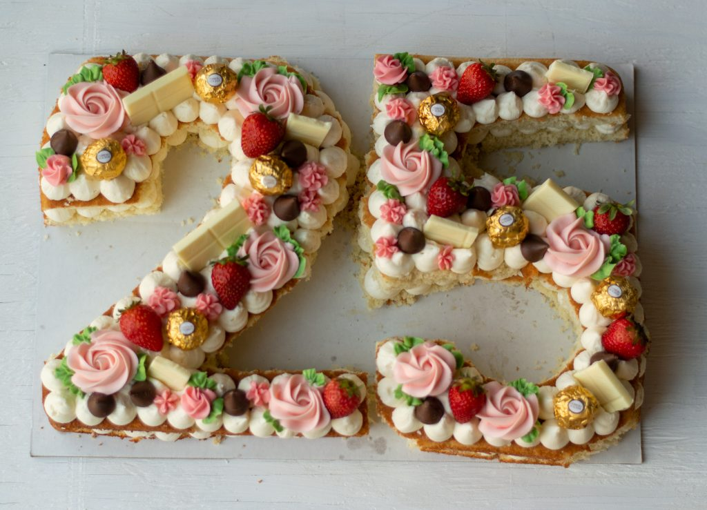 number cake with strawberries and candy