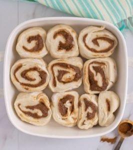 homemade cinnamon rolls in baking dish