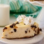 chocolate chip cheesecake on a plate